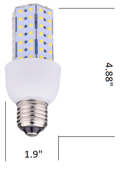 Triac Dimmable 9 Watt Corn Cob LED for 120V Circuits, 360 Degree Beam Angle Mogul / medium Base 5K Color Temp