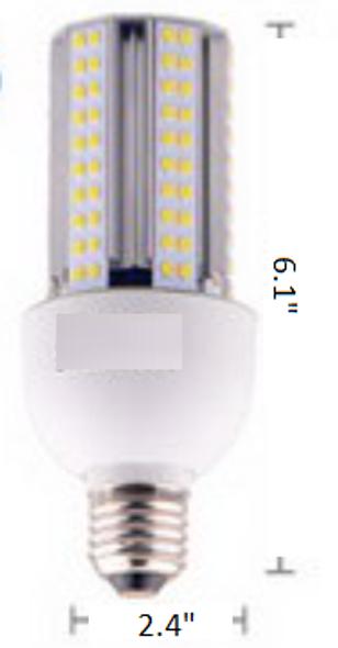 Triac Dimmable 15 Watt Corn Cob LED for 120 Volt Circuits, 360 Degree Beam Angle Mogul / medium Base 5K Color Temp