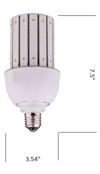 Triac Dimmable 30 Watt Corn Cob LED for 120 Volt Circuits, 360 Degree Beam Angle Mogul / medium Base 5K Color Temp.