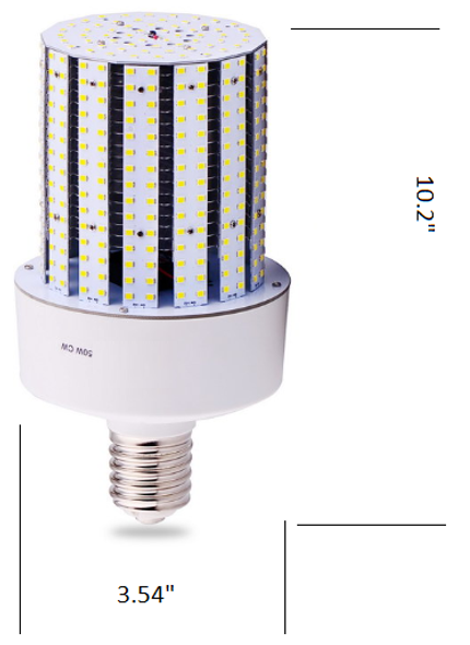 Triac Dimmable 50 Watt Corn Cob LED for 120 Volt Circuits, 360 Degree Beam Angle Mogul / medium Base 5K Color Temp.