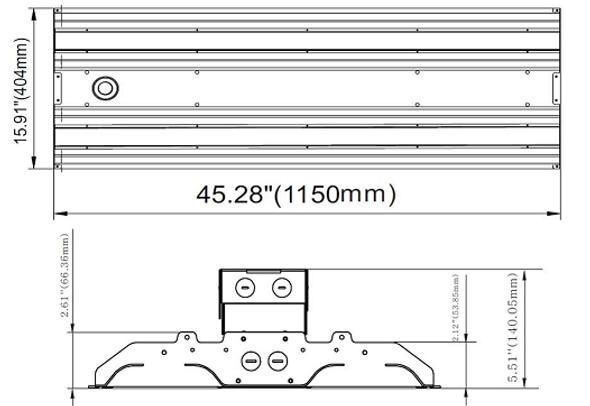ILLHB4200-5K-480V 200 Watt 10 Year LED Linear High Bay Light Fixture ILLHB Series Fluorescent Replacement 2x4 Ft
