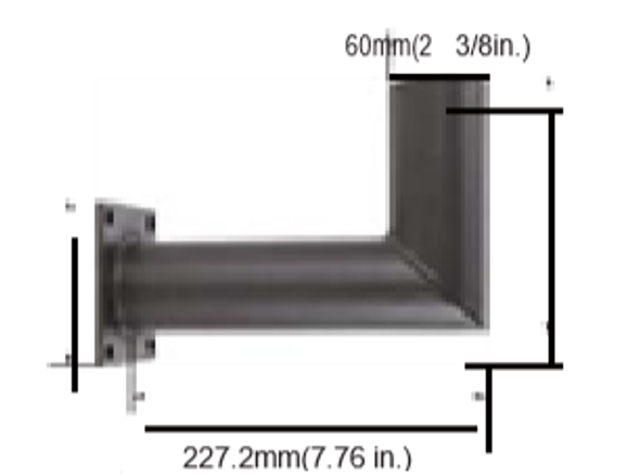 """IMWM3-BRN Square Post or Wall Adapter Tenon with 90 degree 2 3/8"""" OD Tenon Mount for exterior Light fixtures"""