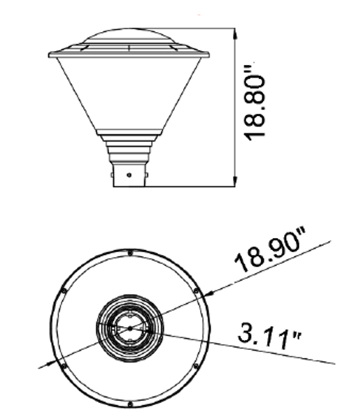 Modern Hourglass LED Post Top