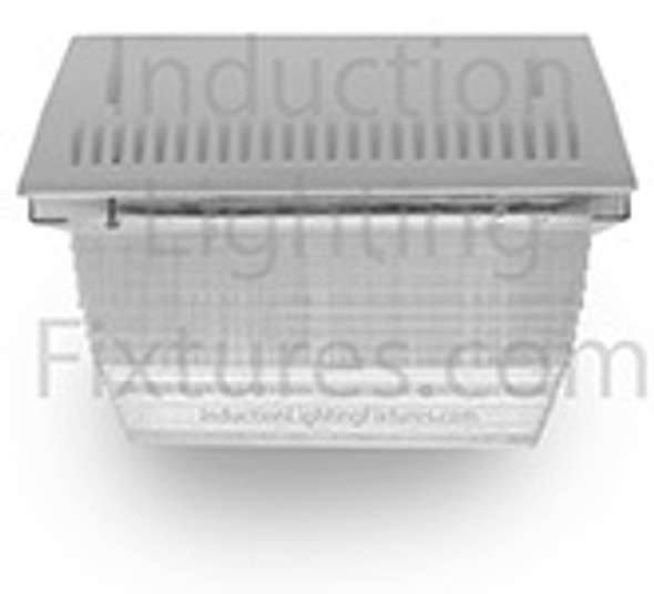 "60w Induction Parking Garage Light Fixture / White 12"" Square Fixture for Surface and Canopy Mounting"