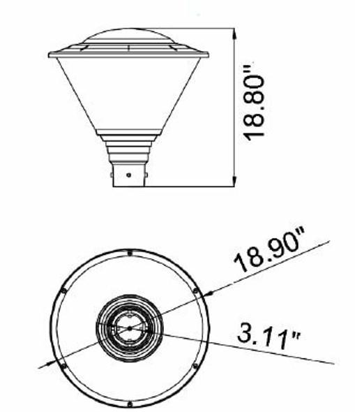 EL-HPTW27 60 Watt Modern Hourglass LED Post Top