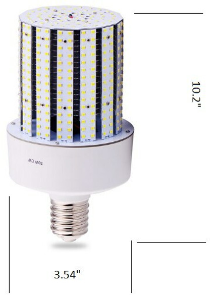 ICD50 Triac Dimmable 50 Watt Corn Cob LED 120v, 360 Degrees, E26 / E39 Base 3000K, 4000K, 5000K, 6000K
