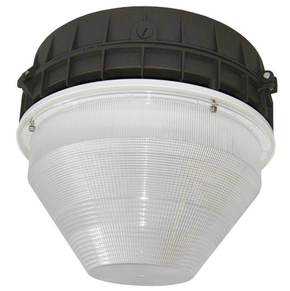 "IGF5T100 100 watt Induction Parking Garage Fixture / Conical 15"" Round Cone Fixture for Surface and Canopy Mounting with Built-in Heat Sink"