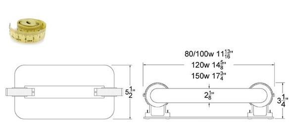ILSL150 150 Watt Induction Rectangular Light, Square Lamp and Ballast Retrofit Kit, 120v 3000K - 5000K