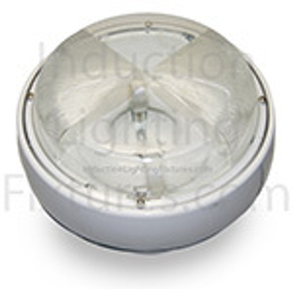"IGF6100 Series 100w Induction Parking Garage Light Fixture / White 15"" Round Fixture for Surface and Canopy Light 100 watt"
