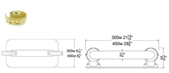 ILSL300 300 Watt Induction Rectangular Light, Square Lamp and Ballast Retrofit Kit, 120v 3000K - 5000K