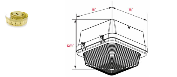 """200w Induction Gas Station / Tunnel 18"""" Fixture for Surface and Canopy Mounting 200 Watt"""