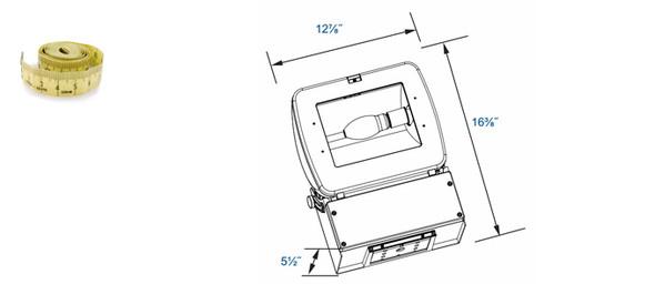 "FM60 Series 60 Watt Induction Flood Light Mini Area Fixture 13"" width  Adjustable Head.60 Watt"