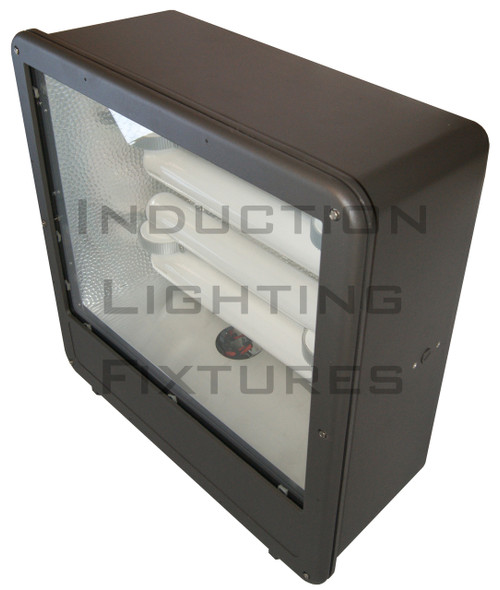 "FSDS400 400W Induction Shoe Box Light Fixture 23"" Housing Smooth Reflector, Flood Light, Parking Lot Light 400 watt"