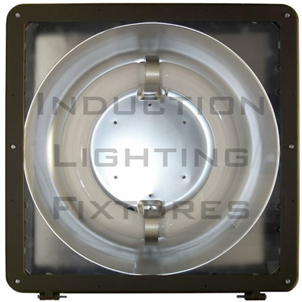 1SB120 Series 120 Watt Induction Shoe Box Light Fixture and Area Light 16 inch Round Lamp Type V Reflector