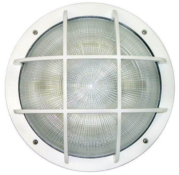 IW3C60 Series 60 Watt Induction Wallpack light Wall Mount Fixture Round 15 inch. Diameter  Grid Top Frame