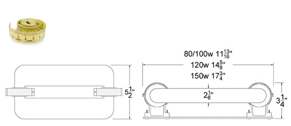 150W Induction Rectangular Light Square Lamp and Ballast Retrofit Kit 150 Watt 3000K
