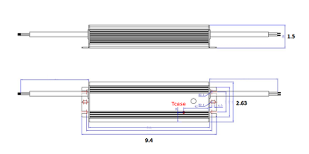 ILLA-180312 180w LED Power Supply 120v-277v Constant Current LED Driver 180 Watt, 48-59vdc, 3.12 amps