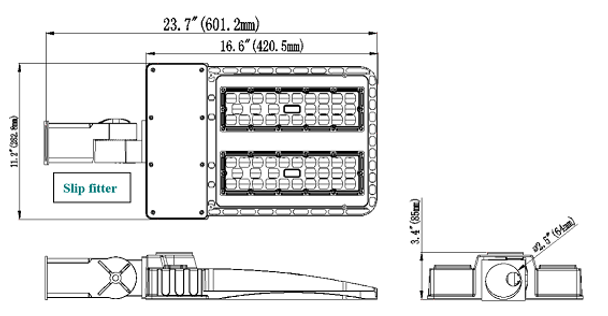 LKHD200-5K-S 200 Watt LED Area Light Fixture, Deco Style Parking Lot Light Fixture 800 Watt MH Replacement with Slip Fitter