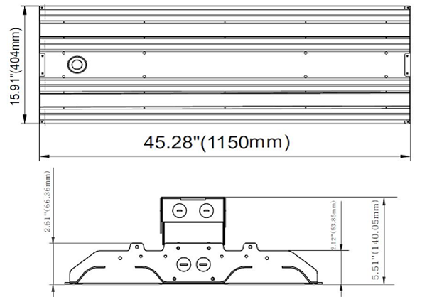 ILLHB4150-5K 150 Watt 10 Year LED Linear High Bay Light Fixture Fluorescent Replacement 2x4 Ft.