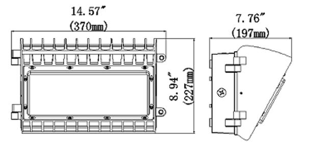 LW1D100-5K 100 Watt Deco Style LED Wall Pack Light Fixture Adjustable Cut Off 60 - 90 degree