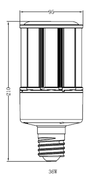 "36 Watt LED Corn Light Bulb, (E39/40) Base UL DLC Listed 5000K, Ballast Compatible, 6KV Surge Protection 150Lm/W ""Case Only"" 12/case"
