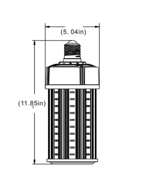 480 VAC HID LED 100 Watt Corn Light IP64 |400 Watt Metal Halide Equivalent 360 Degree Beam Angle, Mogul (E39) Base UL Listed 5000K