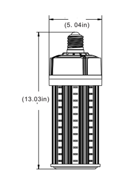480 VAC HID LED 120 Watt Corn Light IP64  | 500 Watt Metal Halide Equivalent 360 Degree Beam Angle, Mogul (E39) Base UL Listed 5000K