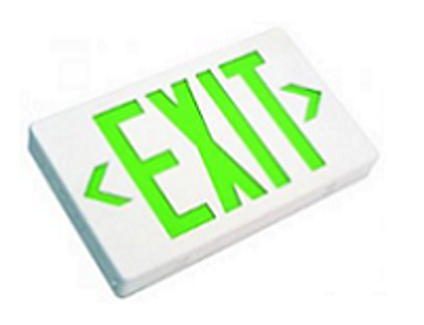 iEZXTEU2GWEM LED Exit Sign Battery Backup, Green Letters, White Housing, Single/Double Sided
