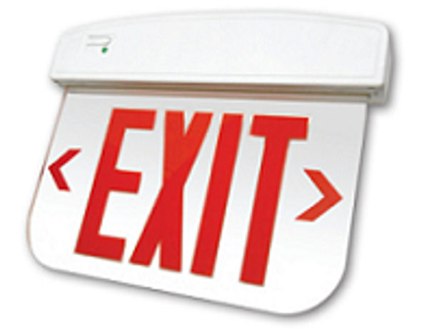 LED Edgelit Exit Sign, EM Backup, Red Letters, Mirror Lens, Double Sided