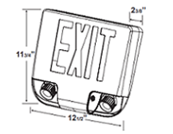 iCKXTEU1GAAEM LED Combination Exit Sign Emergency Lighting Series with Battery Backup Alum. Red Letters