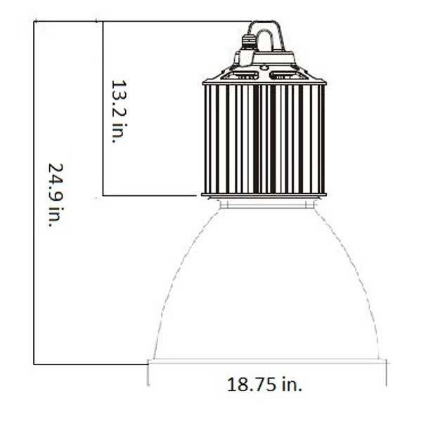 LHB3-150-CP Series 150 Watt LED High Bay Fixture with 45 Degree Clear Acrylic Prismatic Reflector