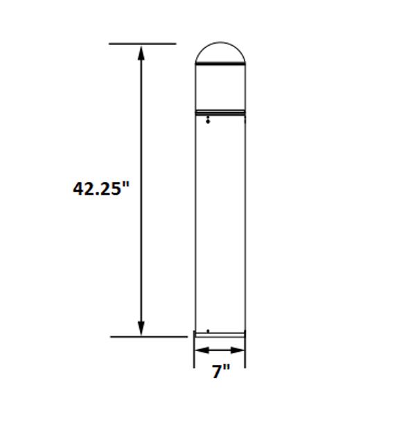 ILBOG3Q-5K LED Bollard Post Light, WithType 3 Glass Reflector, Round Top, 15 Watt, 5000K