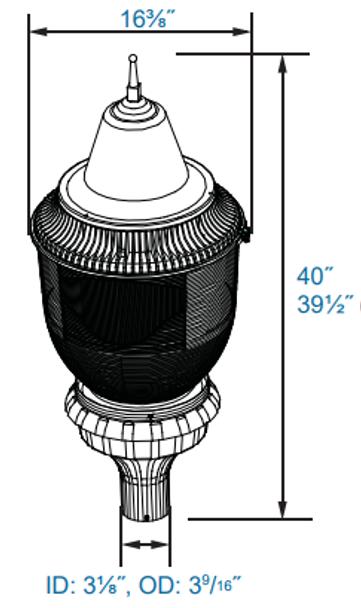 ILPB2-90-4K 90W LED Pole / Post Top Acorn Light Fixture 90 Watt Classic Style