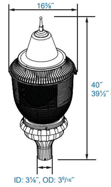 90W LED Pole / Post Top  Acorn Light Fixture 90 Watt Classic Style