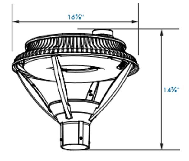 ILPF70-84-4K LED Pole Mounted / Post Top Acorn Light Fixture 84 Watt Modern Style with Open Frame