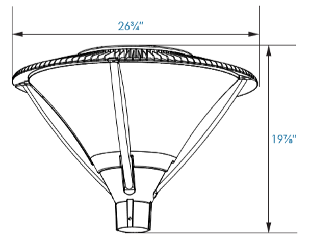 ILPF80-84-4K LED Post Mounted / Pole Top Light Fixture 84 Watt Architectural Style with Open Frame