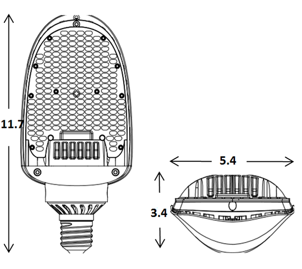 ILFCS-54-5K LED Street Light 54W Directional LED Retrofit module 150 Degree Beam Angle Lamp with E39/E40 Mogul Base UL Listed 5000K DLC Certified