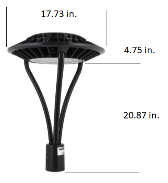 ILFX80-5K LED Post Light Fixture 80 Watt Halo Style with Acrylic Lens 8800 Lumens ETL, DLC