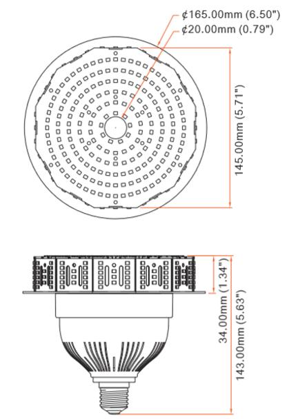 ICYG40-5K 40 Watt High Bay LED Retrofit Bulb,(E26/27) Mogul (E39/40) Base UL DLC Listed 5000K, Direct Wire Metal Halide Replacement