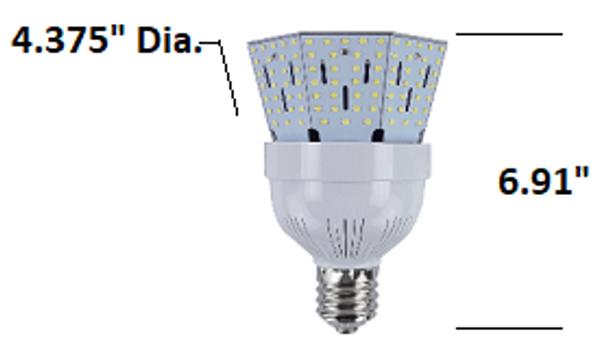 ICYB30-6K-L 30 Watt LED Corn Bulb, Post Light Replacement Bulb 3900 Lumen (E26/27) Base w\E39 Adapter ETL Listed 6000K DLC