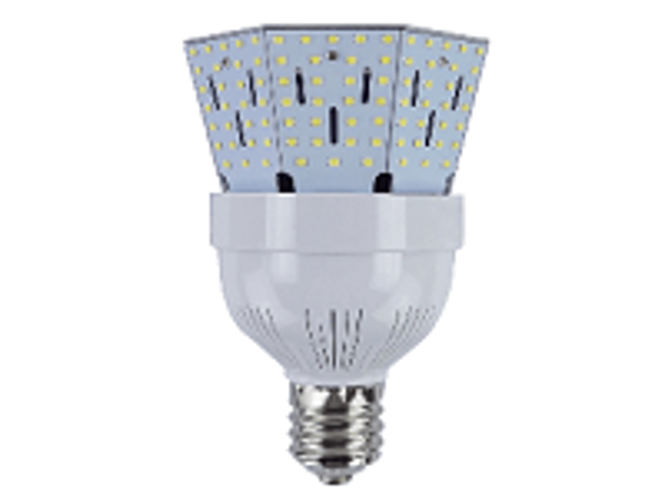 ICYB60-6K-L 60 Watt LED Corn Bulb, Post Light Replacement Bulb 7800 Lumen (E26/27) Base w\E39 Adapter ETL Listed 6000K DLC