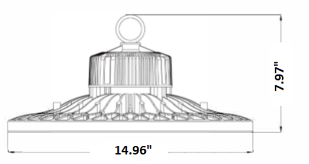LMHB150-5K PIR Sensor Controlled LED High Bay light \ Low Bay Light Fixture with Philips LED Array, 150 Watt LMHB150 Series 600W Metal Halide equivalent