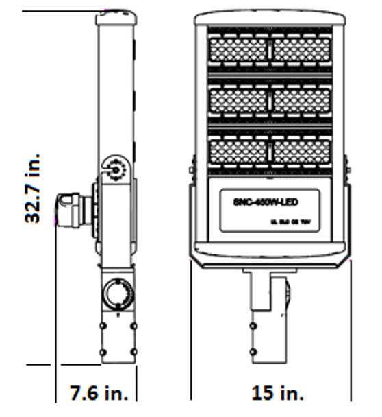 450 Watt 61000 Lumens LED Area Light Fixture with slipfitter mount ,LKHM Parking Lot Light Fixture 2000 Watt MH Equivalent