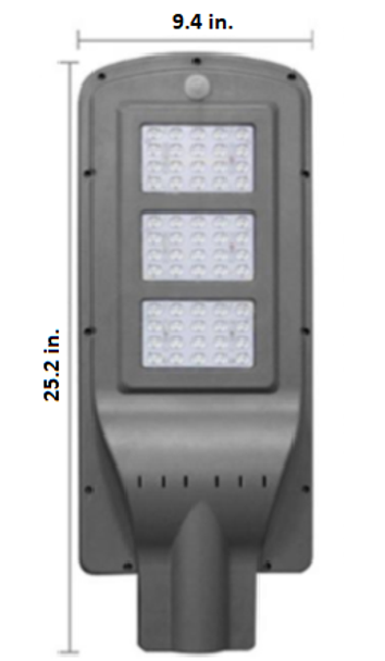 LAS15 15W All-In-One, totally integrated Solar LED Street Light with slipfitter Mount, 2400 Lumens, Type 3 or Type 5 Light Spread 6K