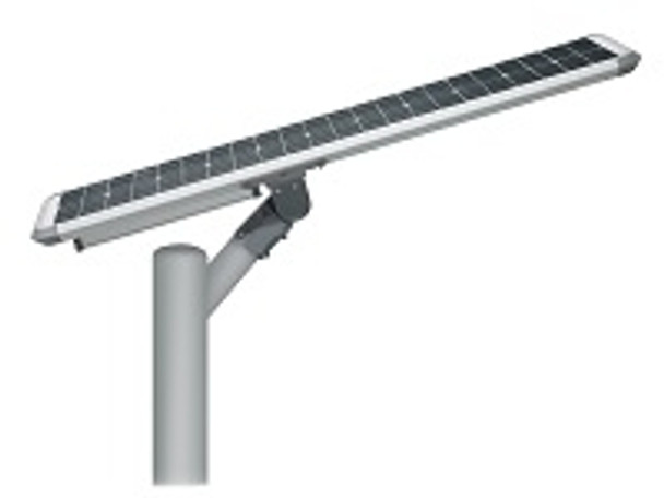50W Totally integrated, All In one  Solar LED Street Light with slipfitter Mount, 7300 Lumens, Type 3 or Type 5 Light Spread