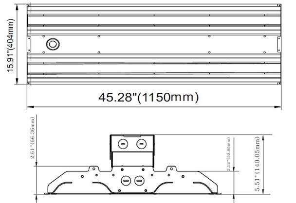 480VAC 300 Watt 10 Year LED Linear High Bay Light Fixture ILLHB Series Fluorescent Replacement 2x4 Ft.