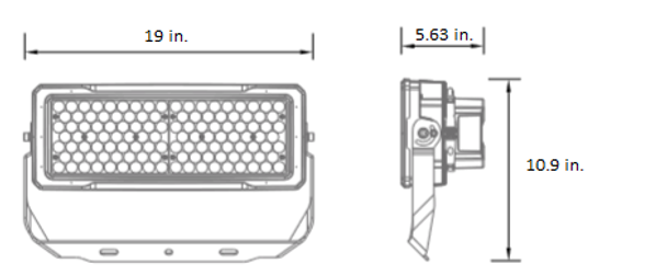 LSLM 480V Series 250 Watt LED Flood Light with individually adjustable LED Arrays for Arenas and sports Field Lighting.  UL DLC