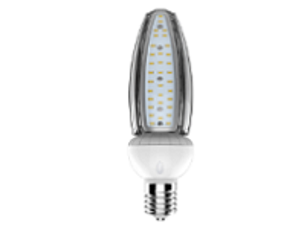 40 Watt Warm White LED Retrofit Bulb, E26 Base With E39 Adapter UL DLC Listed 3K, Narrow T15 Form Factor, shadow free design. UL DLC Certified 3000K Color.