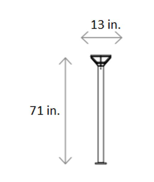 ILPL1-6K Solar Powered Modern Style Post top Walk way Light