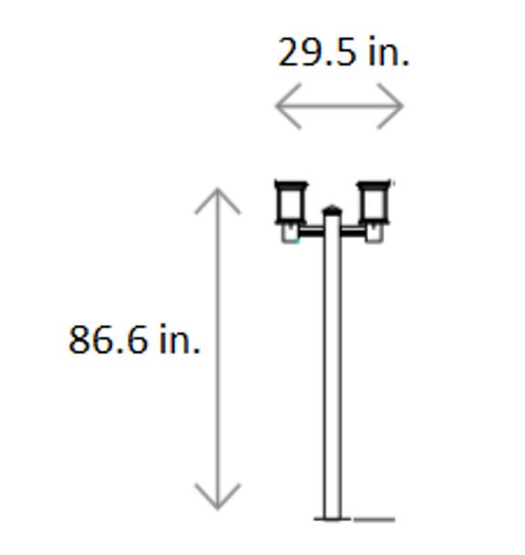 ILPL3-6K Solar Powered Dual Lantern Style Post top Light Fixtures